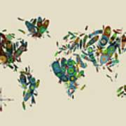World Map Mandala Feathers 3 Poster