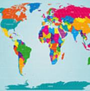 World Map  Poster by Michael Tompsett