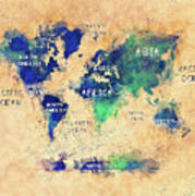 World Map Oceans And Continents Art Poster