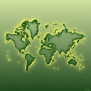 World Map Opala Square In Green And Yellow Poster