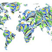 World Map Organic Green And Blue Poster