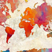 World Map - Rainbow Passion - Abstract - Digital Painting 2 Poster