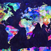 World Map Urban Watercolor Poster by Michael Tompsett