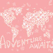 World Map White Flowers Pink Poster
