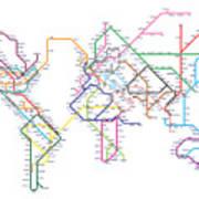 World Metro Map Poster by Michael Tompsett