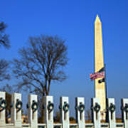 World War II Memorial And Washington Monument Poster