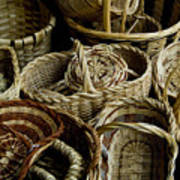 Woven Baskets For Sale At A Market Poster