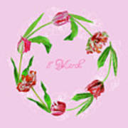 Wreath With Tulips Poster