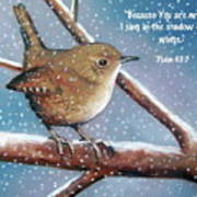 Wren In Snow With Bible Verse Poster