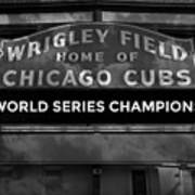 Wrigley Field Sign -- Bw Poster