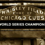 Wrigley Field Sign - Vintage Poster
