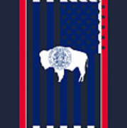 Wyoming State Flag Graphic Usa Styling Poster