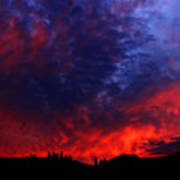 Wyoming Sunset On Fire Poster