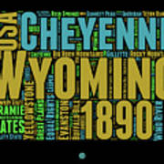 Wyoming Word Cloud Map 1 Poster