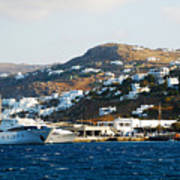 Yachts Docked At Port Skala Greece On Patmos Island Poster