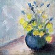 Yello Flowers In Blue Vaze Poster