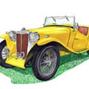 Yellow 1949 M G T C Midget Poster