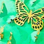 Yellow And Green Butterfly Poster