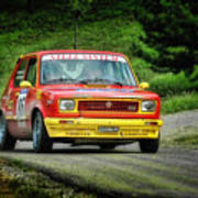Yellow And Red Fiat 127 Poster