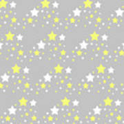Yellow And White Stars On Grey Gray  Poster