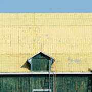 Yellow Barn Roof Workers-3 Poster