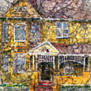 Yellow Batik House Poster by Arline Wagner