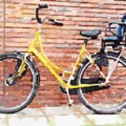 Yellow Bicycle Digital Watercolour Poster