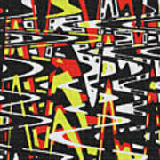 Yellow Black Red White Drawing Abstract Poster