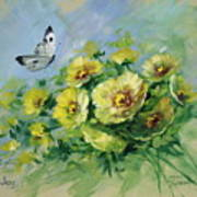 Yellow Blossoms And Butterfly Poster