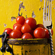Yellow Bucket With Tomatoes Poster