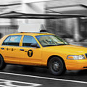 Yellow Cab In Manhattan In A Rainy Day. Poster