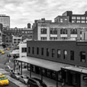 Yellow Cabs In Chelsea, New York 5 Poster
