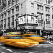 Yellow Cabs Near Macy's Department Store, New York Poster
