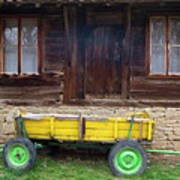 Yellow Cart And Green Wheels  Poster