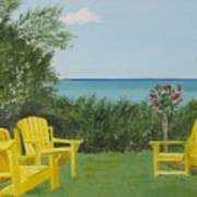 Yellow Chairs At Blue Mountain Beach Poster
