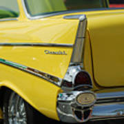 Yellow Chevrolet Tail Fin Poster