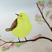 Yellow Chickadee On A Branch Poster