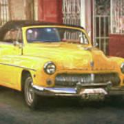 Yellow Convertible Mercury Poster