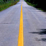 Yellow Dividing Line Marking An Empty Road Between Uxmal And Kabah Poster by Sami Sarkis