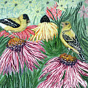 Yellow Finches Poster