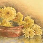 Yellow Flowers With Still Life Poster