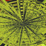 Yellow Green Black Abstract Poster