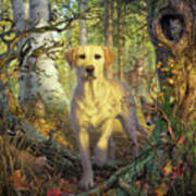 Yellow Lab In Fall Poster