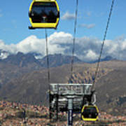 Yellow Line Cable Cars And Andes Mountains Bolivia Poster