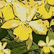 Yellow Orchids Woodcut Poster