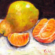 Yellow Pear With Tangerine Slices Grace Venditti Montreal Art Poster