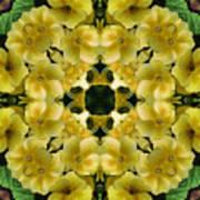 Yellow Primrose Kaleidoscope Poster