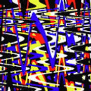Yellow Red Blue Black And White Abstract Poster