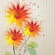 Yellow Red Floral Illustration Poster