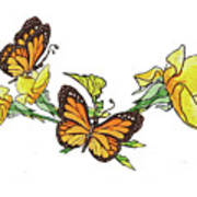Yellow Roses And Monarch Butterflies Poster